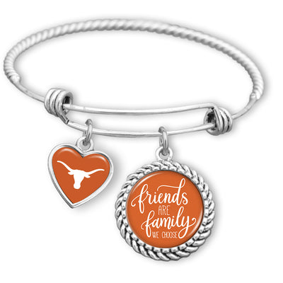Friends Are Family You Choose Texas Longhorns BFF Charm Bracelet