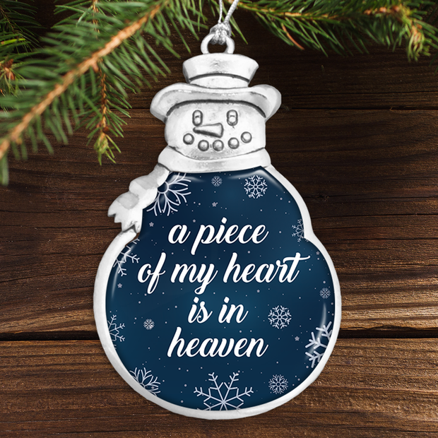 Piece Of My Heart Night Sky Winter Snowman Ornament