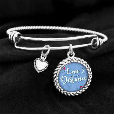 Love Is Greater Than Distance Charm Bracelet