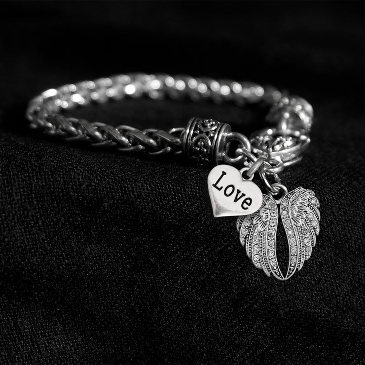Crystal Angel Wings and Love Heart Silver Braided Clasp Charm Bracelet