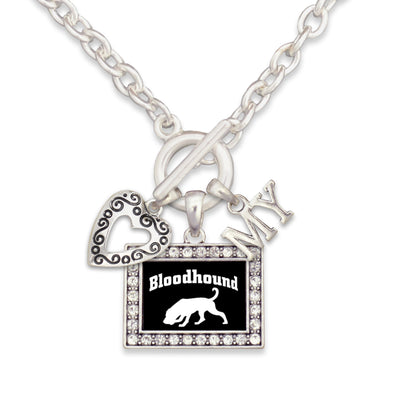 Bloodhound Dog  3 Charm Necklace