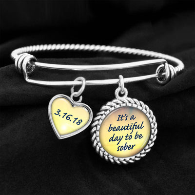 It's A Beautiful Day To Be Sober Personalized Sobriety Date Charm Bracelet