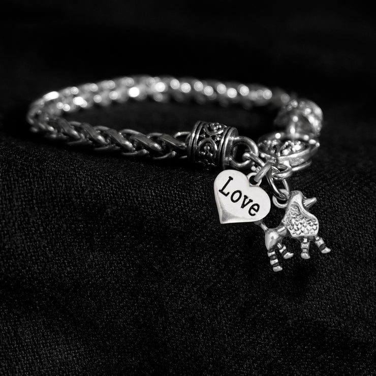 Poodle and Love Heart Silver Braided Clasp Charm Bracelet