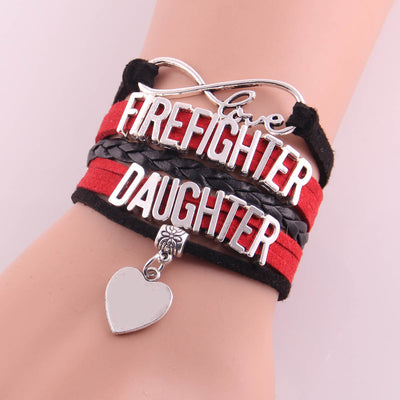 Firefighter Daughter Infinity Love Bracelet