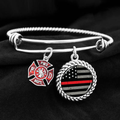 Thin Red Line Flag Charm Bracelet