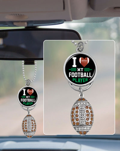 I Love My Football Player Rearview Mirror Charm