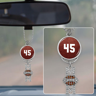 Custom Football Number Rearview Mirror Charm