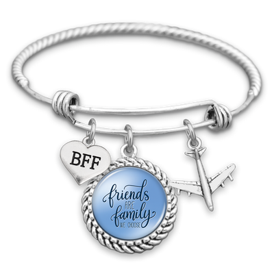 Friends Are Family We Choose Airplane Charm Bracelet