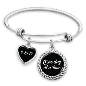 One Day At A Time Personalized Sobriety Date Charm Bracelet