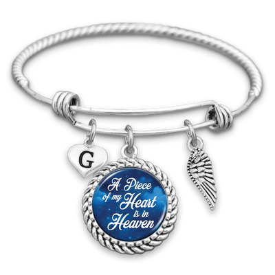 Customizable A Piece Of My Heart Is In Heaven Starry Sky Wing And Initial Charm Bracelet