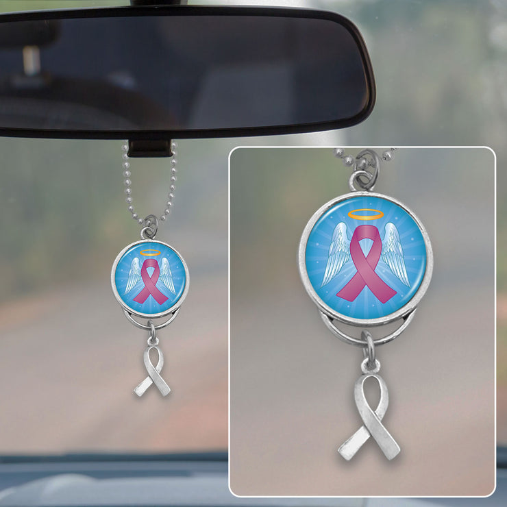 Angel Ribbon Breast Cancer Rearview Mirror Charm