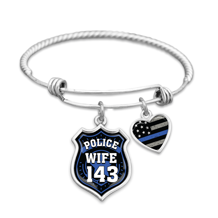 Police Wife Customizable Number Charm Bracelet