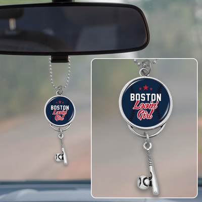 Boston Lovin' Girl Baseball Rearview Mirror Charm