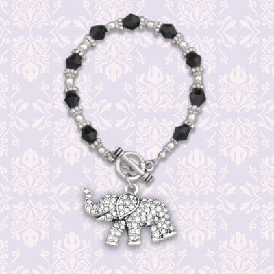 Elephant Crystal Charm Beaded Bracelet