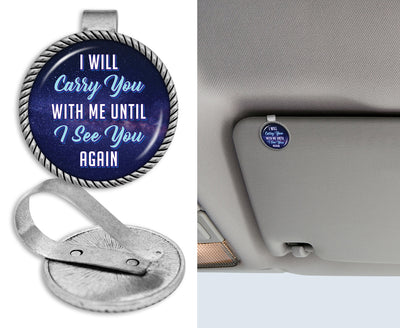 Carry You With Me Dark Sky Circle Auto Visor Clip