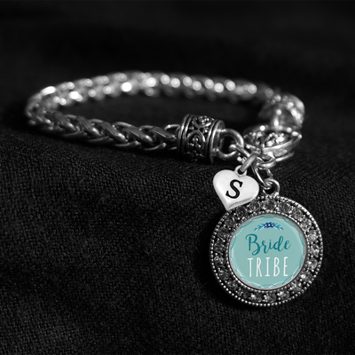 Customizable Bride Tribe Silver Braided Clasp Charm Bracelet