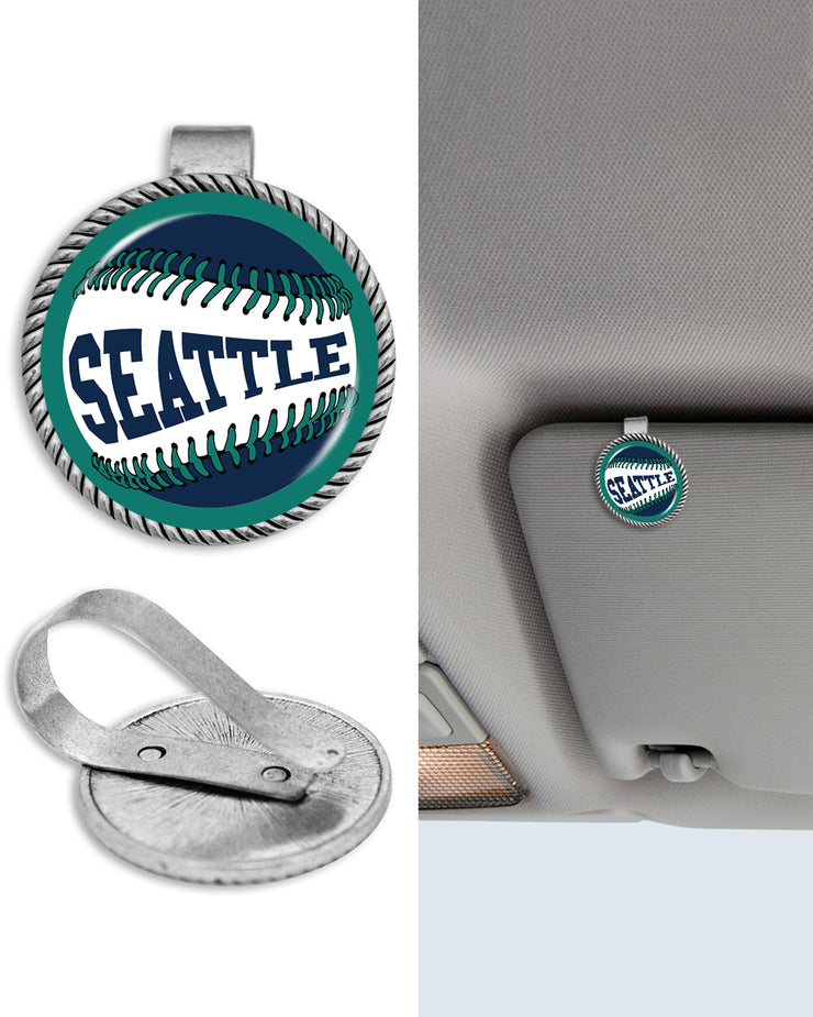 Seattle Baseball Circle Auto Visor Clip