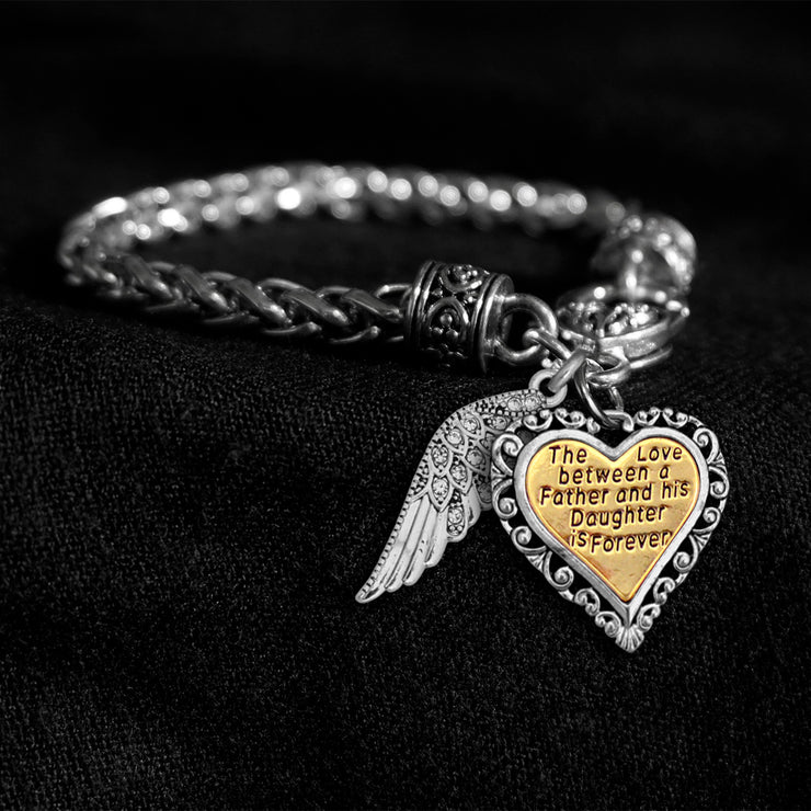Love Between Father And Daughter Crystal Wing Engraved Silver Braided Clasp Charm Bracelet