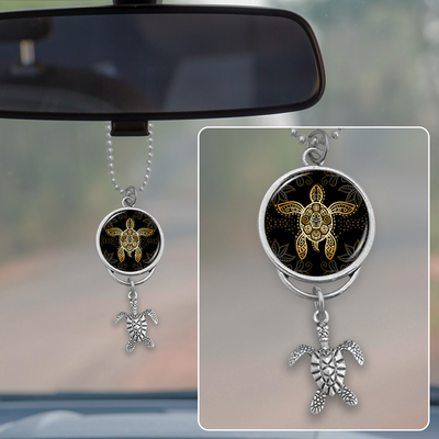 Golden Turtle Rearview Mirror Charm