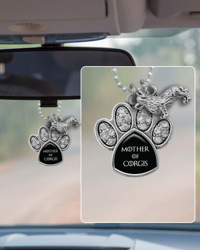 Mother Of Corgis Crystal Paw Rearview Mirror Charm