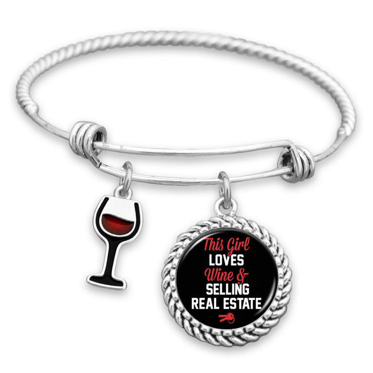 This Girl Loves Wine And Selling Real Estate Charm Bracelet