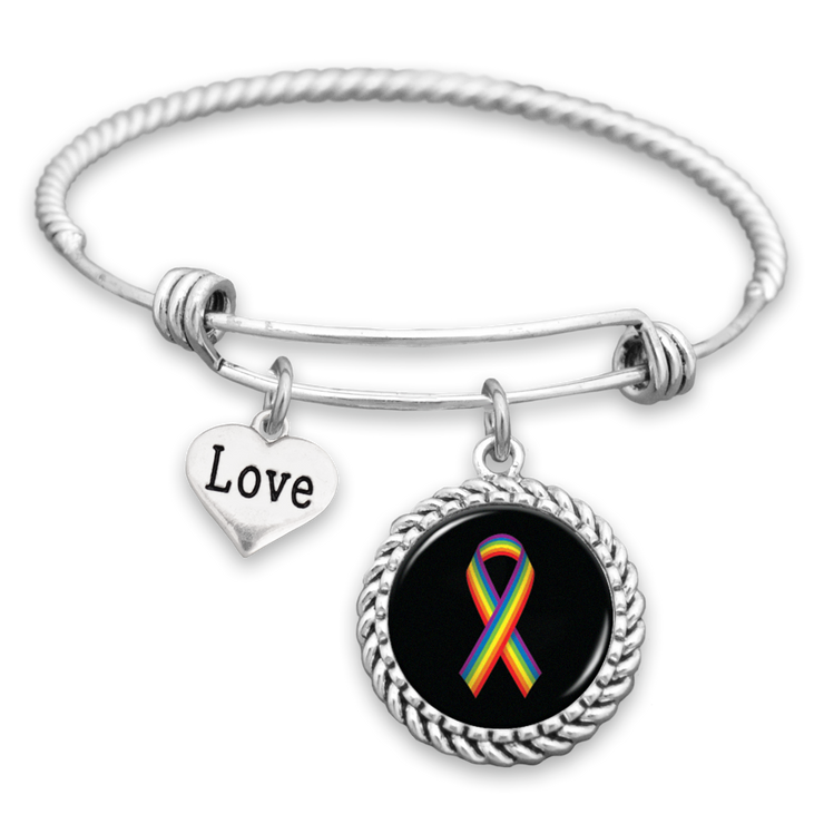 Rainbow Ribbon Love Charm Bracelet
