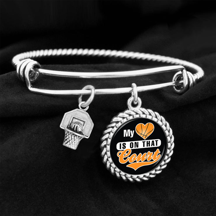 My Heart Is On That Court Basketball Charm Bracelet