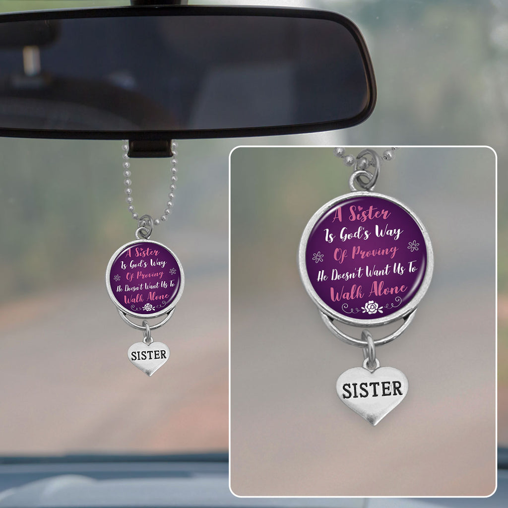 Never Walk Alone Sisters Rearview Mirror Charm
