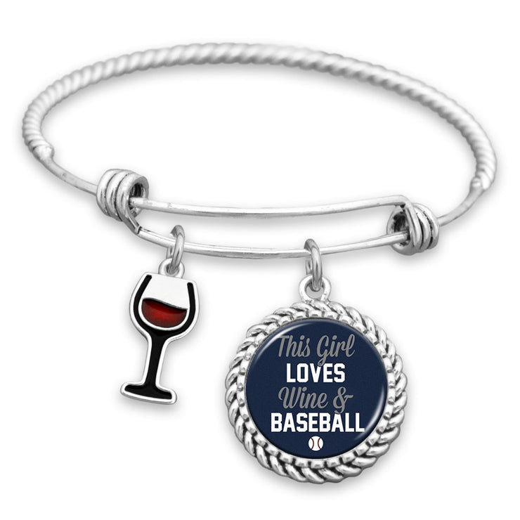 This Girl Loves Wine And Baseball New York Charm Bracelet