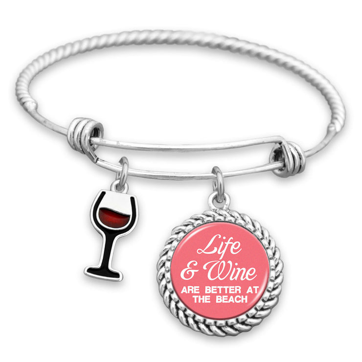 Life & Wine Are Better At The Beach Charm Bracelet