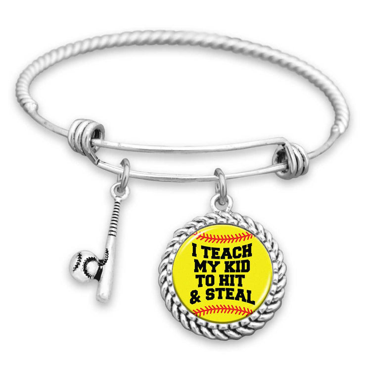 I Teach My Kid To Hit & Steal Softball Charm Bracelet