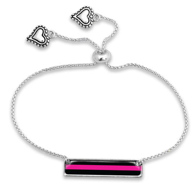 Thin Pink Line Breast Cancer Awareness Adjustable Rectangle Bracelet