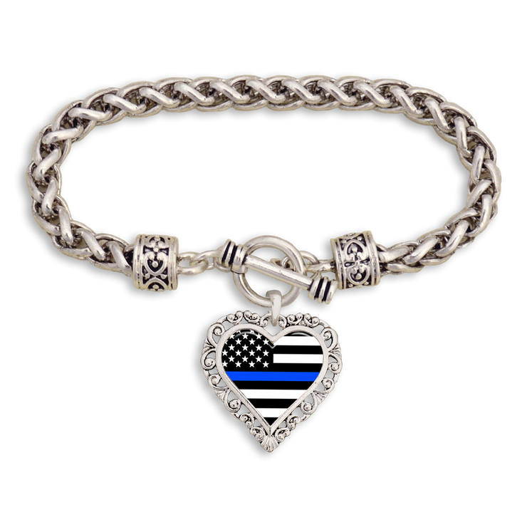Police Thin Blue Line Heart Clasp Bracelet