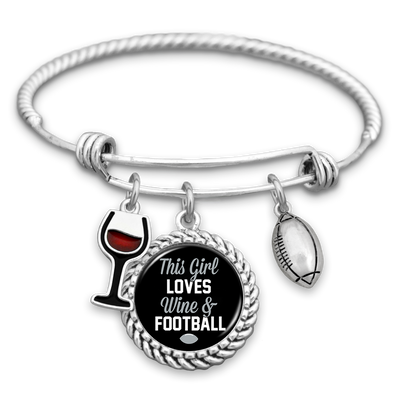 This Girl Loves Wine And Football Oakland Charm Bracelet
