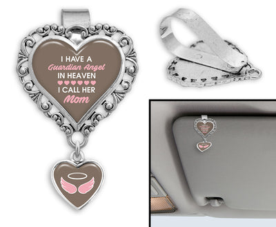 Guardian Angel In Heaven Mom Heart Auto Visor Clip