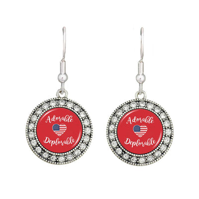 "Trump ""Adorable Deplorable"" Crystal Earrings"