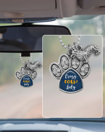 Crazy Corgi Lady Crystal Paw Rearview Mirror Charm