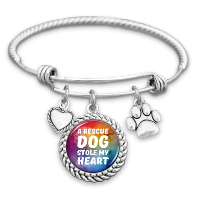 A Rescue Dog Stole My Heart Charm Bracelet
