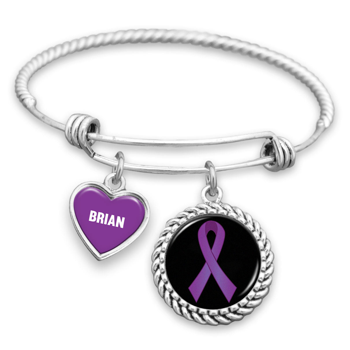 Personalized Lupus Awareness Ribbon Charm Bracelet