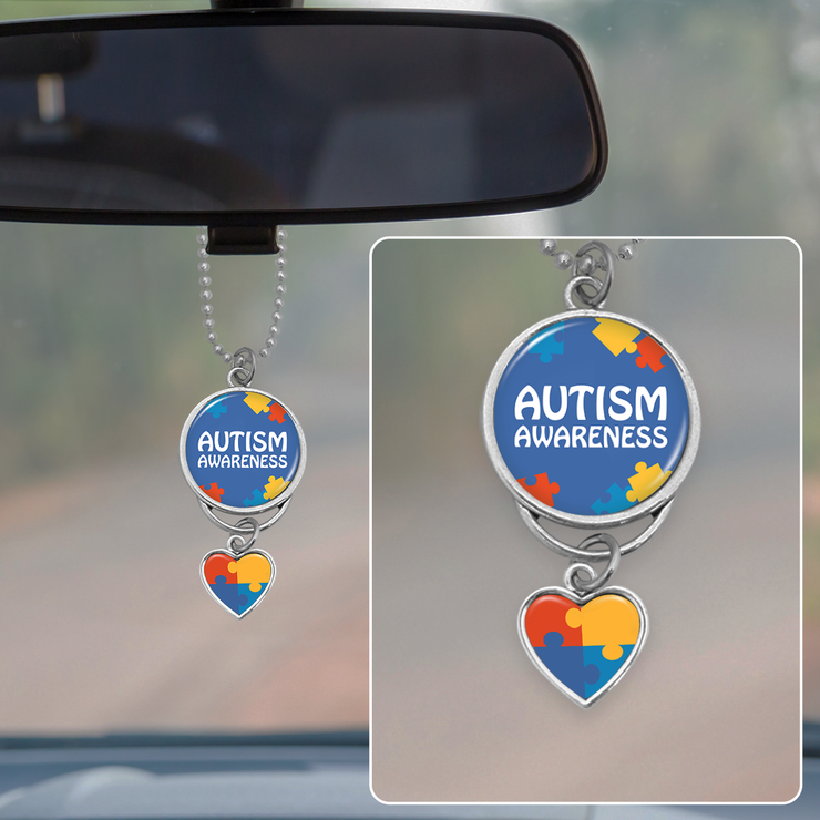 Autism Awareness Rearview Mirror Charm