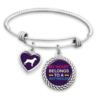 My Heart Belongs To A Rottweiler Charm Bracelet
