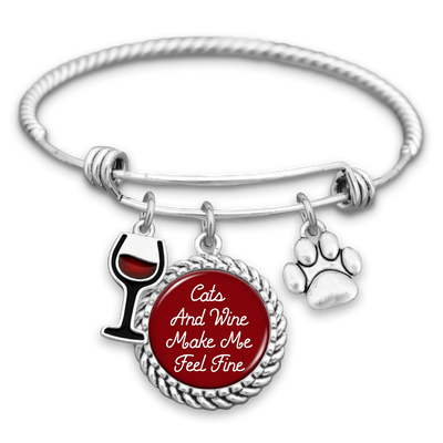 Cats And Wine Make Me Feel Fine Charm Bracelet