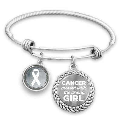 "Lung Cancer Awareness ""Cancer Messed With The Wrong Girl"" Charm Bracelet"