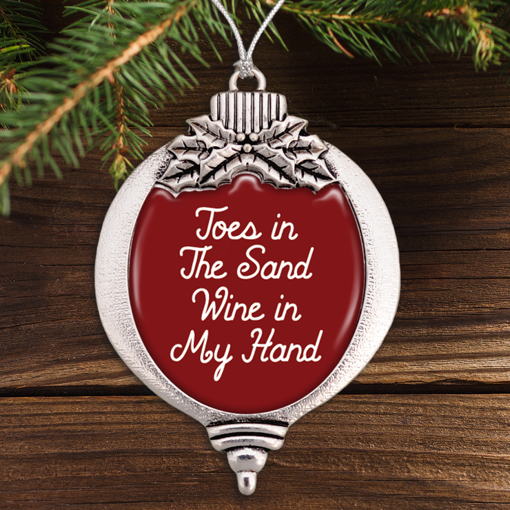 Toes In The Sand, Wine In My Hand Bulb Ornament