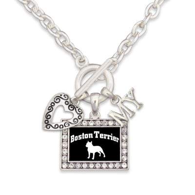 Boston Terrier Dog 3 Charm Necklace