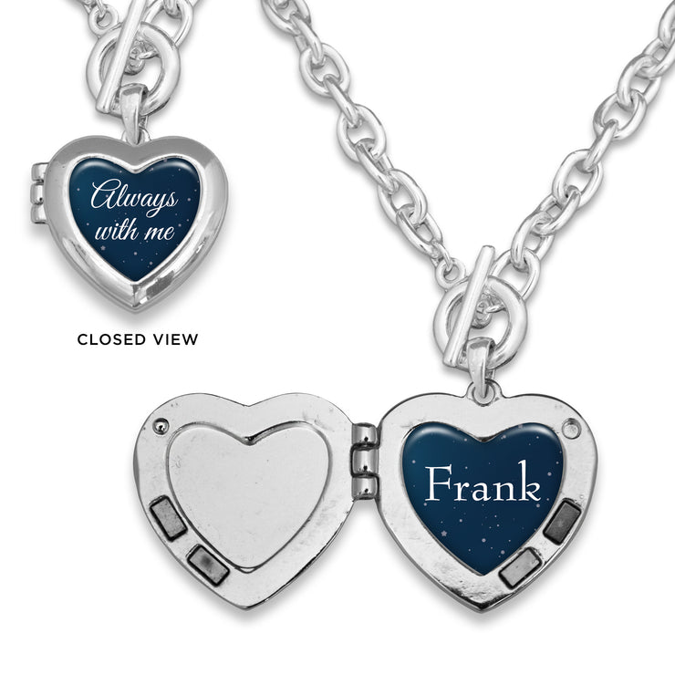 Night Sky Always With Me Custom Name Heart Locket Necklace