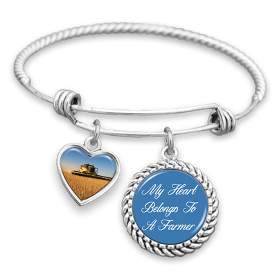 My Heart Belongs To A Farmer Charm Bracelet