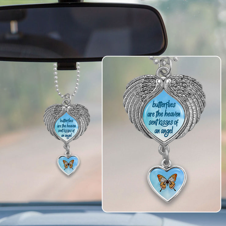 Butterflies Are The Heaven Sent Kisses Of An Angel Blue Sky Wings Rearview Mirror Charm