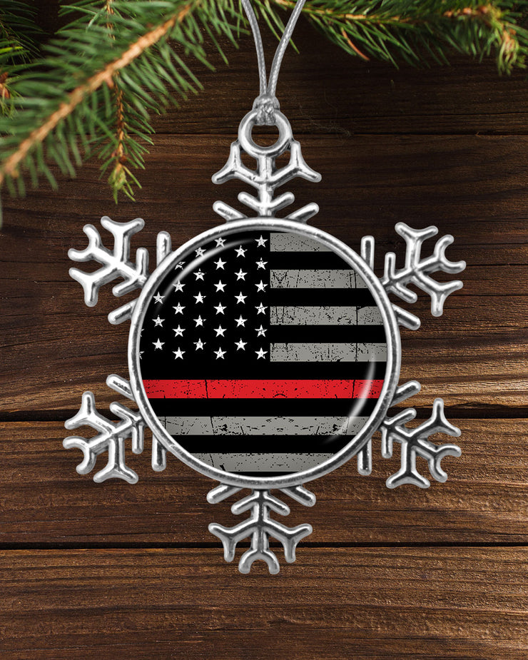 Thin Red Line Flag Snowflake Ornament
