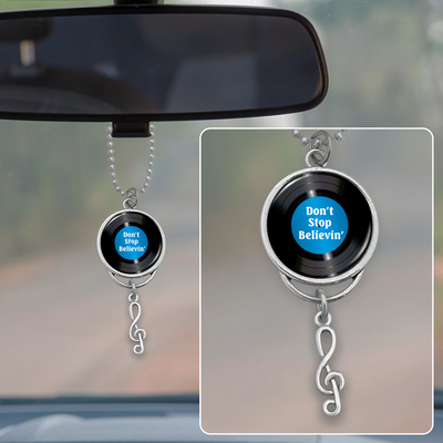 Don't Stop Believin' Vinyl Record Rearview Mirror Charm